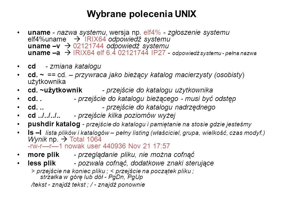 Wybrane polecenia UNIX