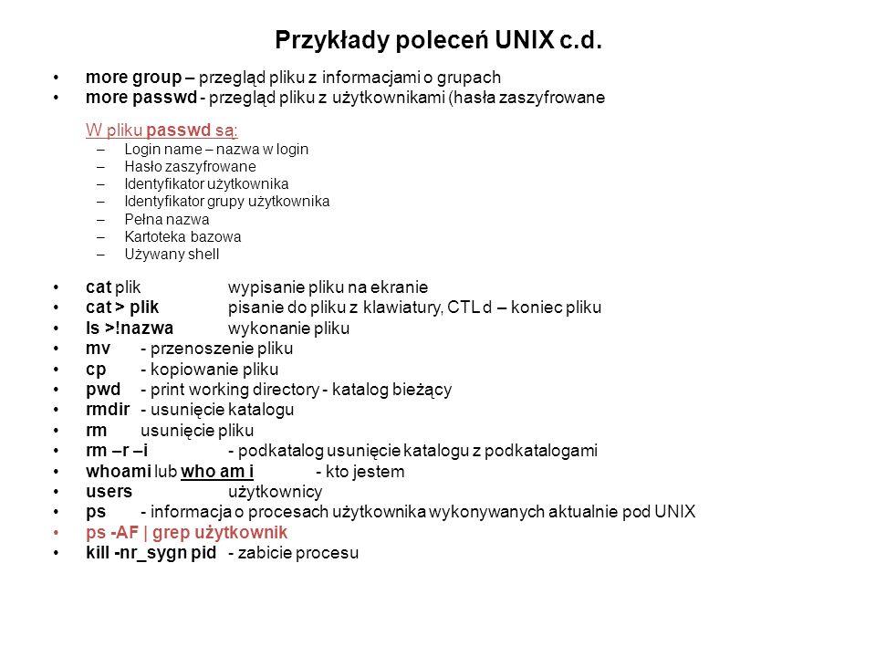 Przykłady poleceń UNIX c.d.