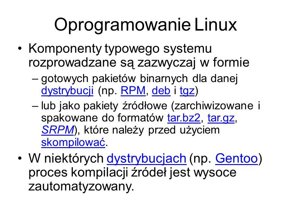 Oprogramowanie Linux Komponenty typowego systemu rozprowadzane są zazwyczaj w formie.