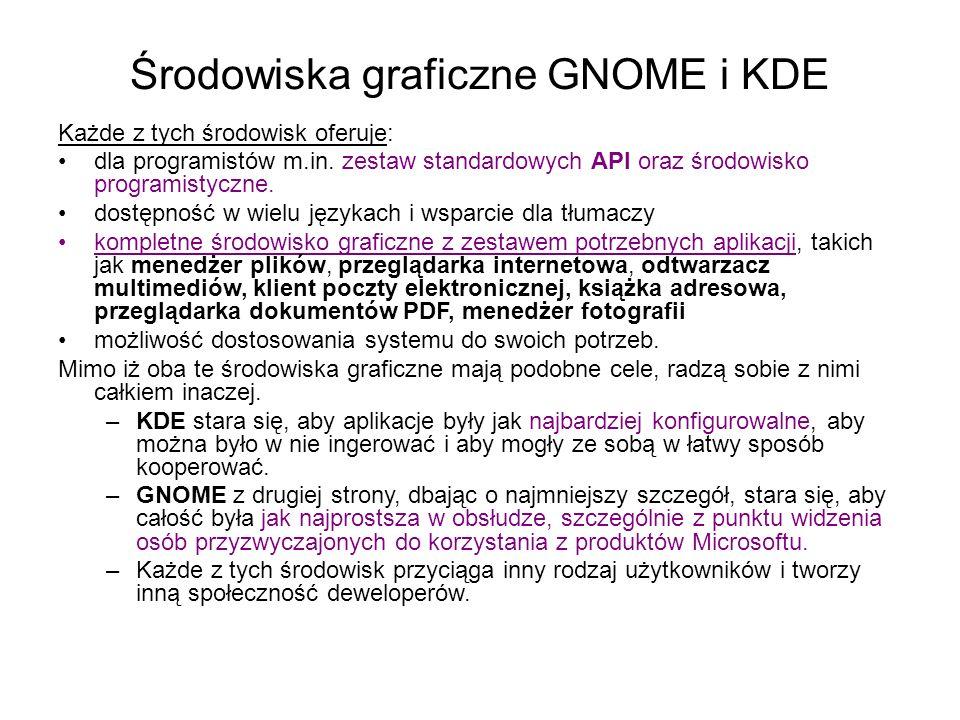 Środowiska graficzne GNOME i KDE