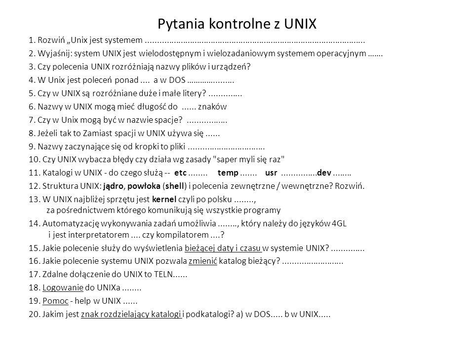 Pytania kontrolne z UNIX