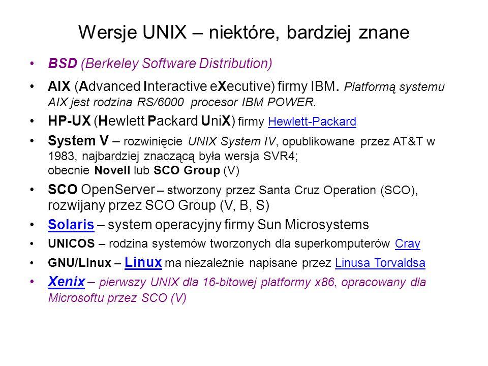 Wersje UNIX – niektóre, bardziej znane