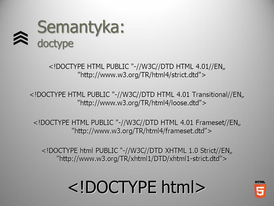 Semantyka: doctype <!DOCTYPE html>