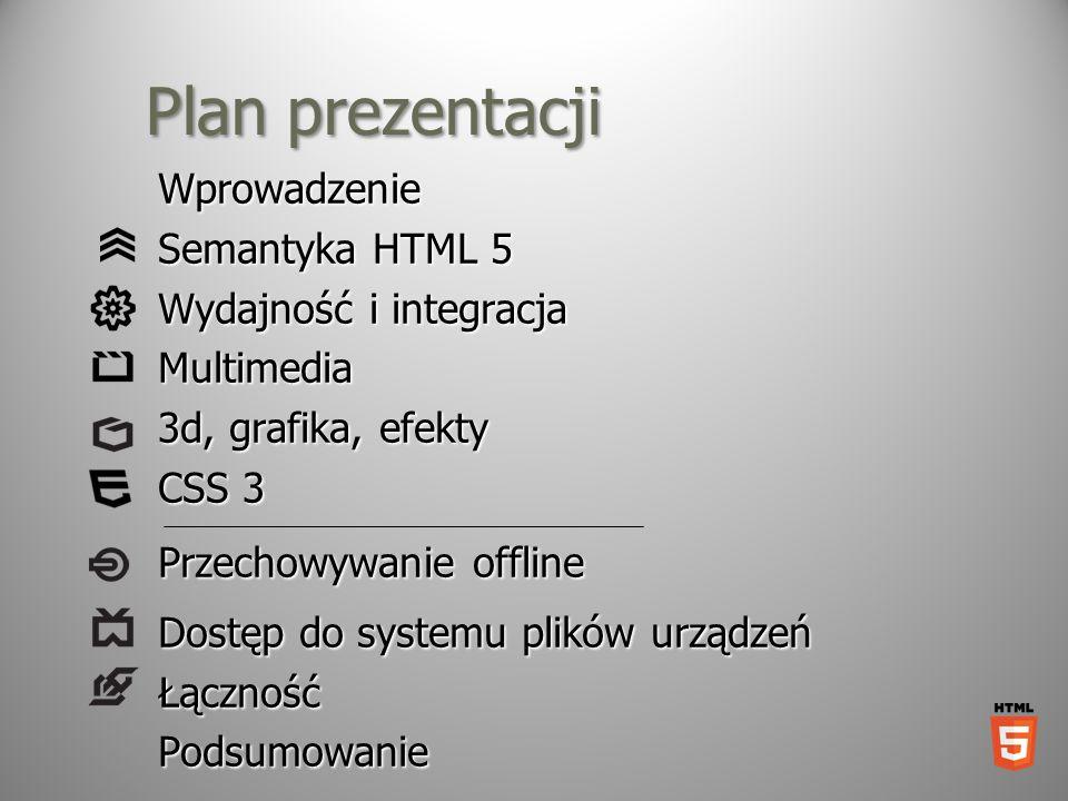 Plan prezentacji Wprowadzenie Semantyka HTML 5 Wydajność i integracja