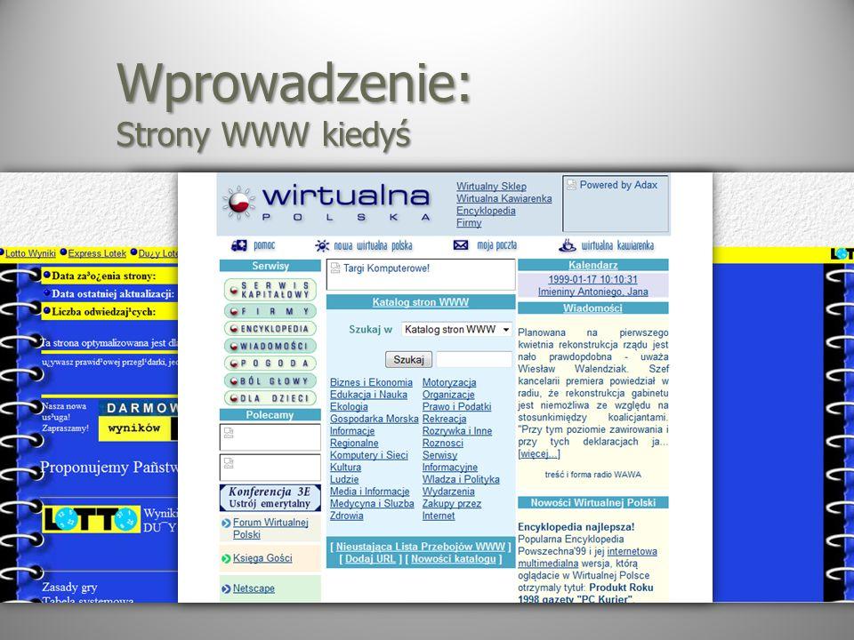Wprowadzenie: Strony WWW kiedyś
