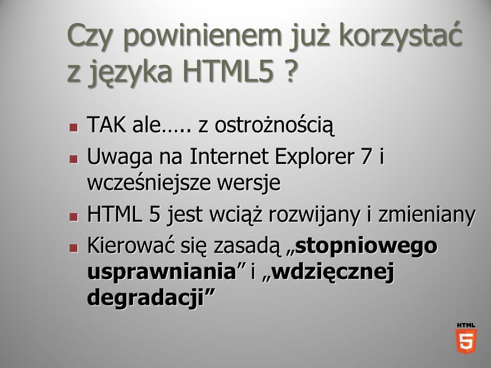 Czy powinienem już korzystać z języka HTML5