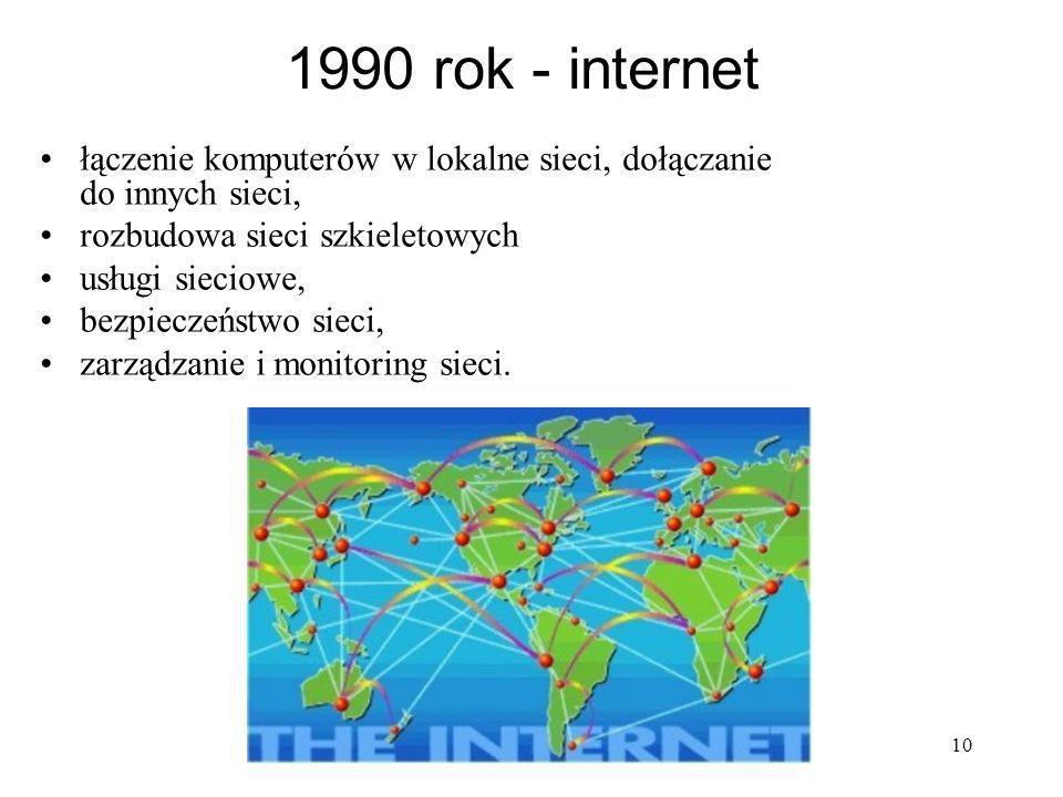 1990 rok - internet łączenie komputerów w lokalne sieci, dołączanie do innych sieci, rozbudowa sieci szkieletowych.