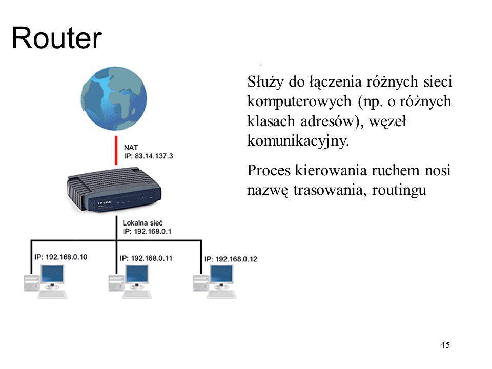 Router Służy do łączenia różnych sieci komputerowych (np. o różnych klasach adresów), węzeł komunikacyjny.