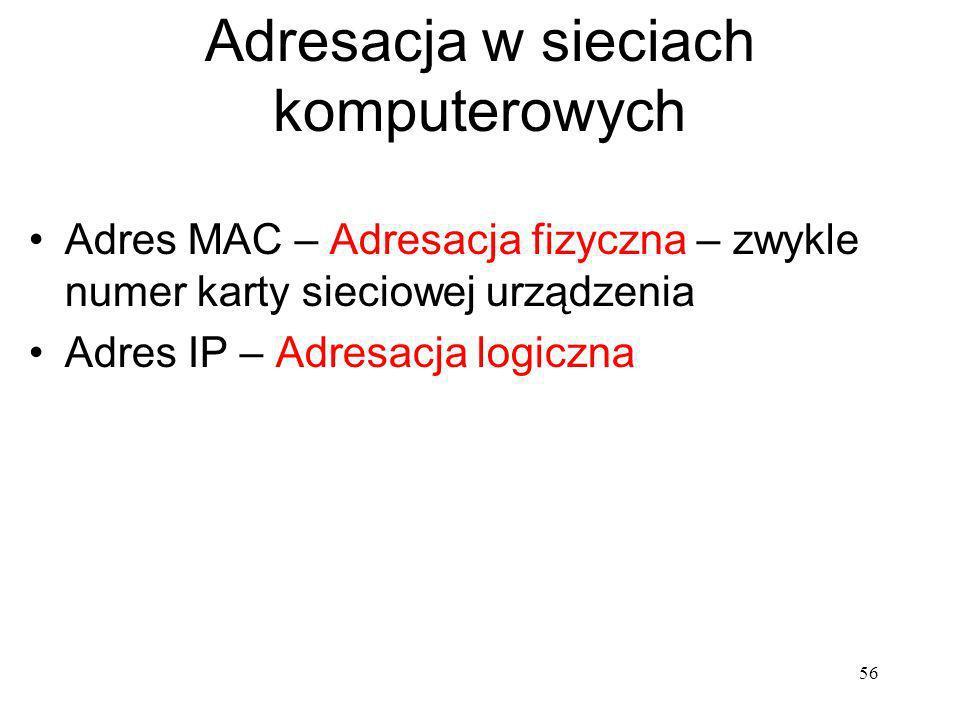 Adresacja w sieciach komputerowych