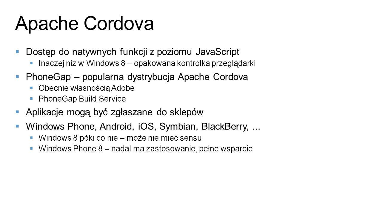 Apache Cordova Dostęp do natywnych funkcji z poziomu JavaScript