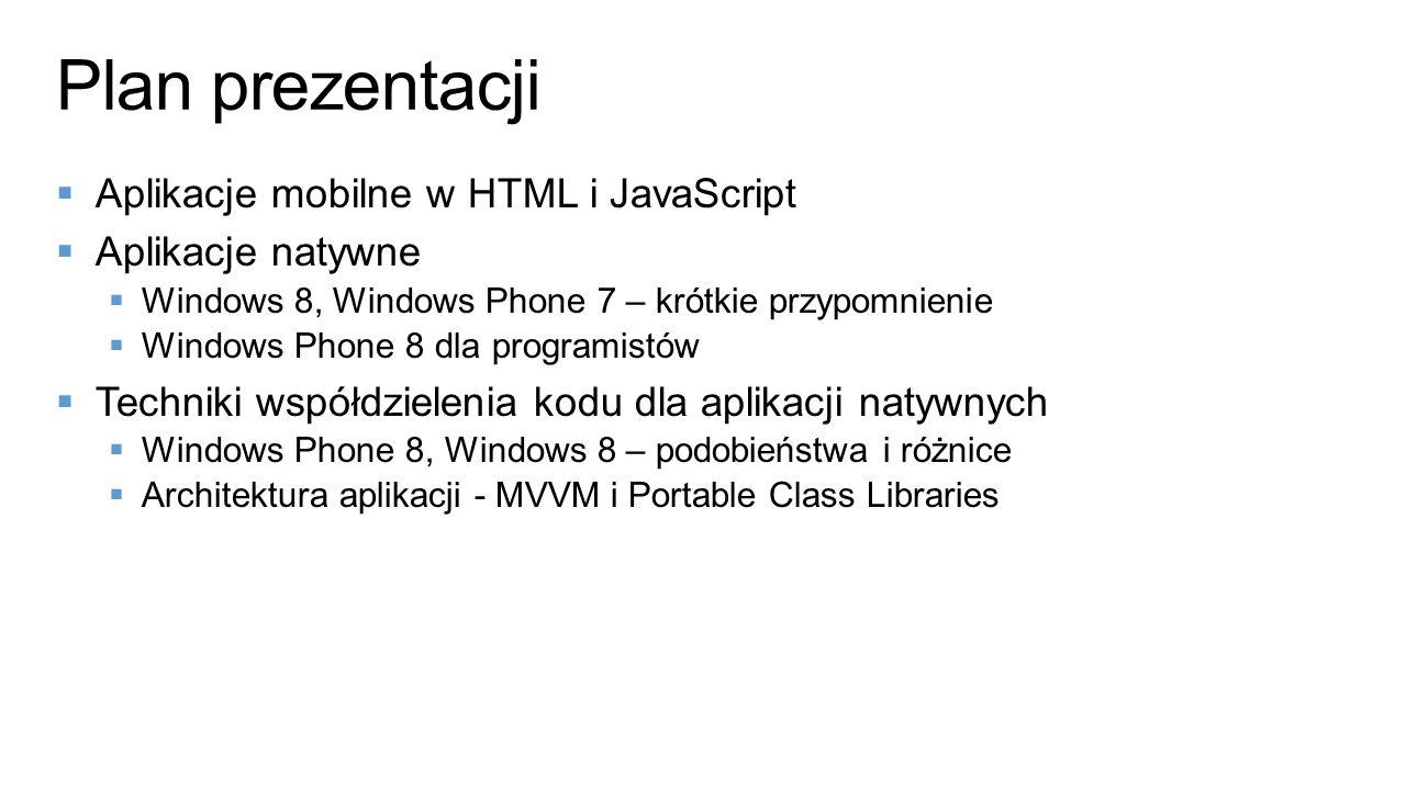 Plan prezentacji Aplikacje mobilne w HTML i JavaScript