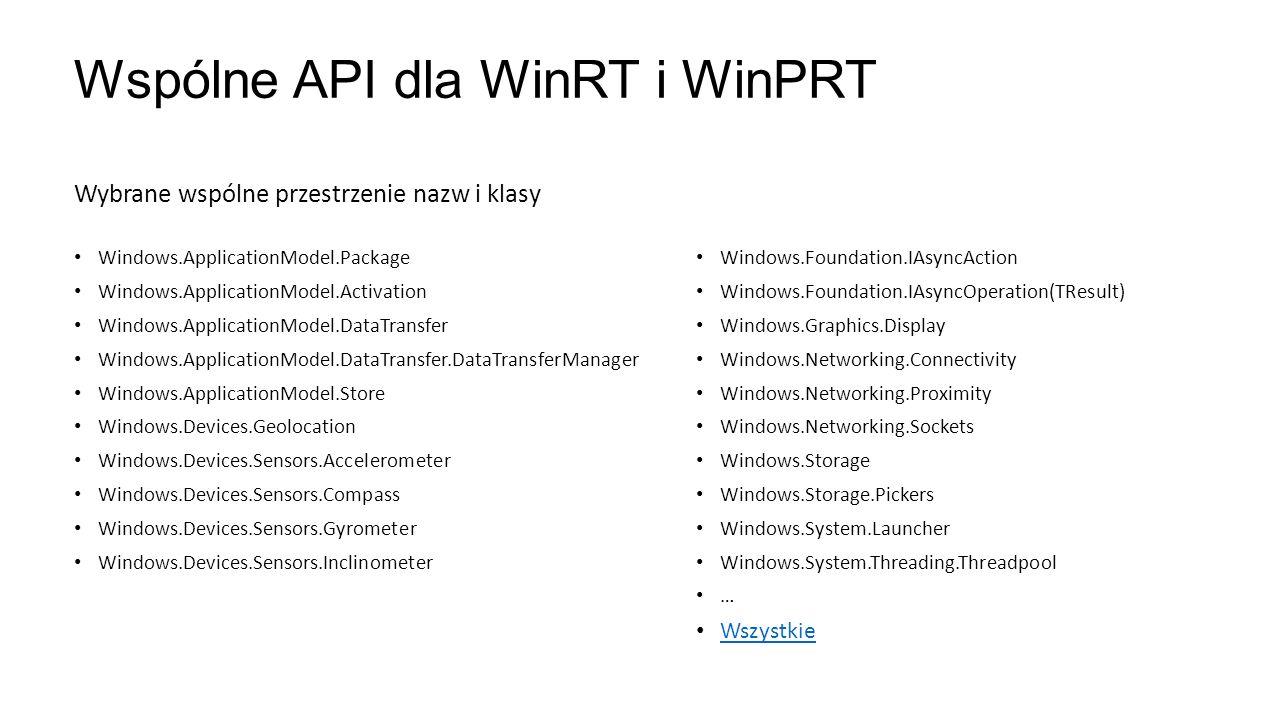 Wspólne API dla WinRT i WinPRT