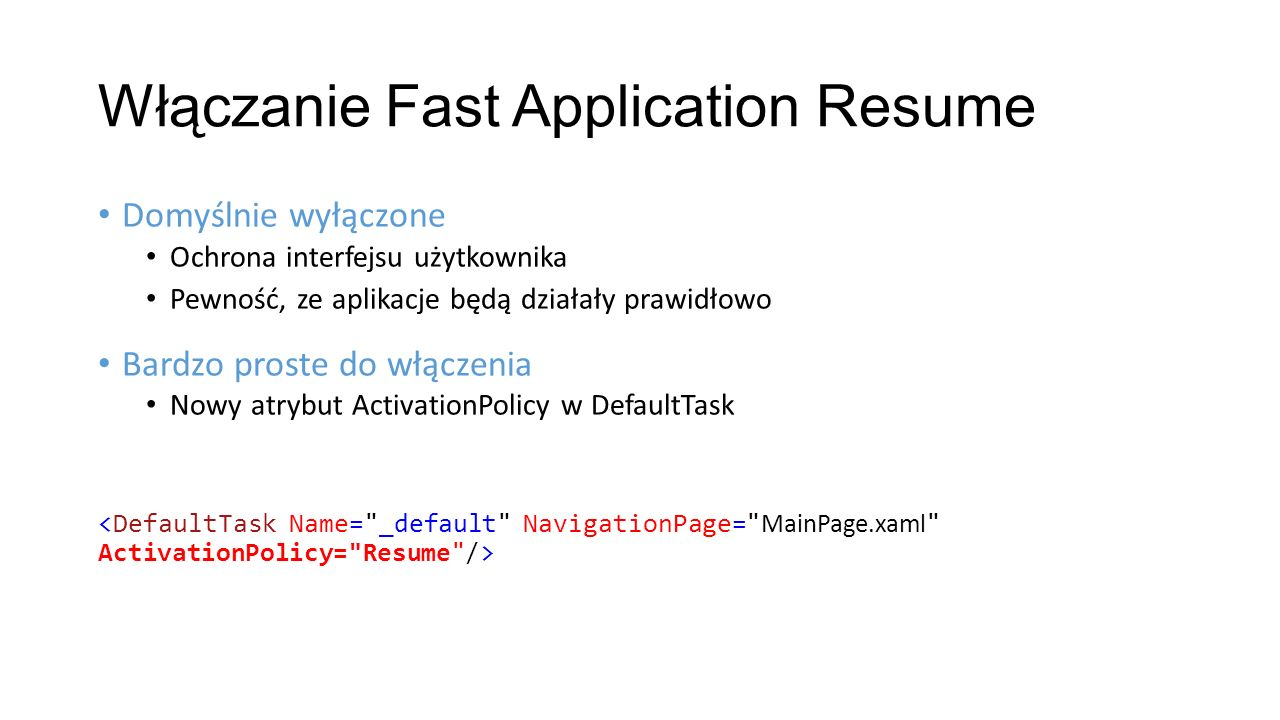 Włączanie Fast Application Resume