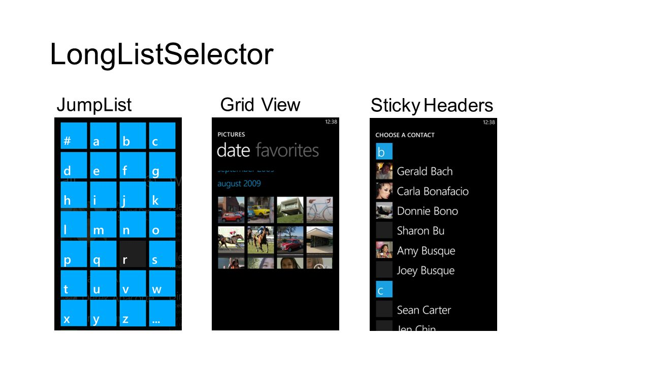 LongListSelector JumpList Grid View Sticky Headers