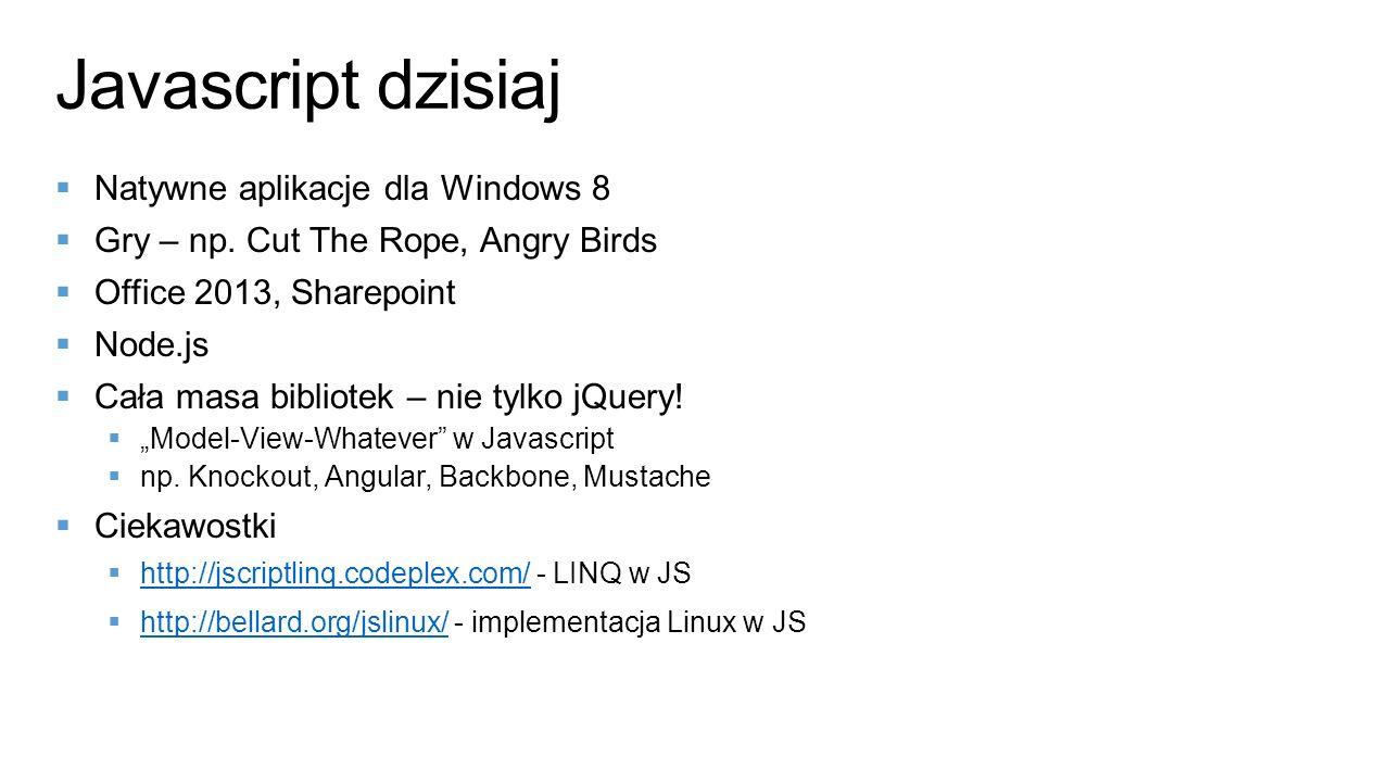 Javascript dzisiaj Natywne aplikacje dla Windows 8