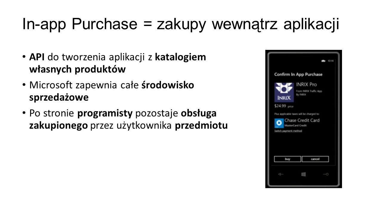In-app Purchase = zakupy wewnątrz aplikacji