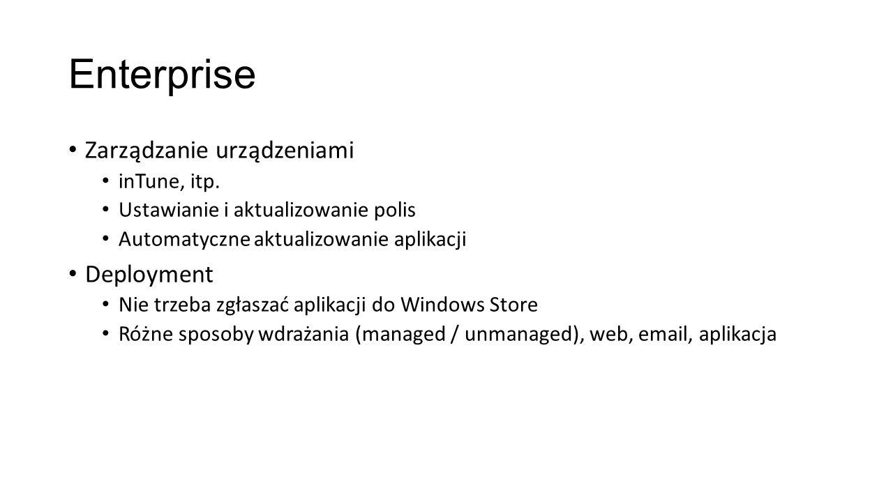 Enterprise Zarządzanie urządzeniami Deployment inTune, itp.