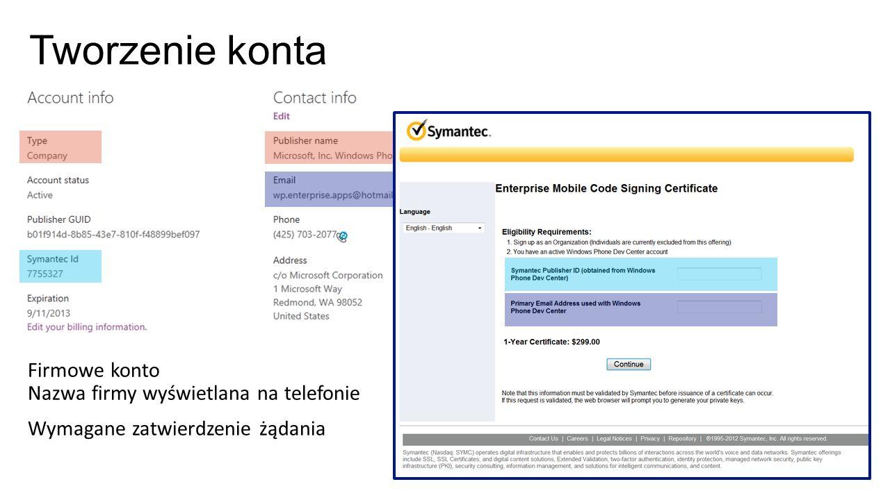 Tworzenie konta Firmowe konto Nazwa firmy wyświetlana na telefonie