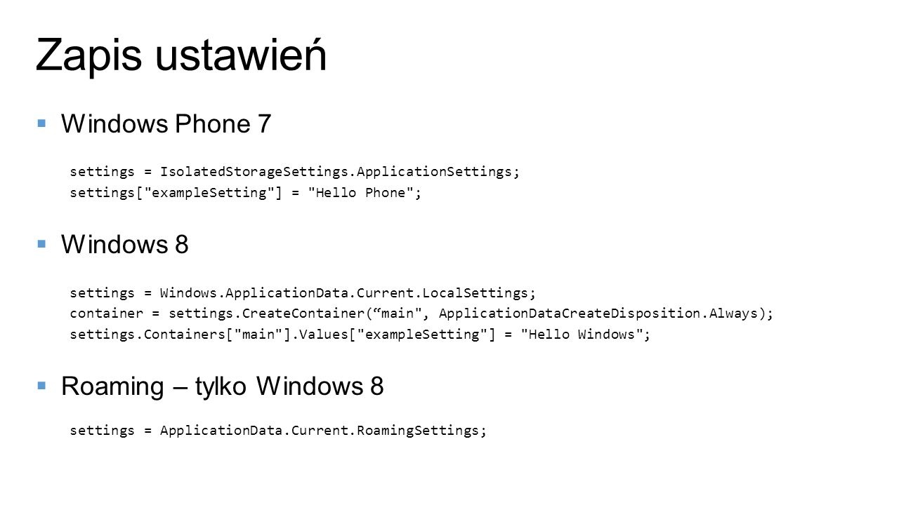 Zapis ustawień Windows Phone 7 Windows 8 Roaming – tylko Windows 8