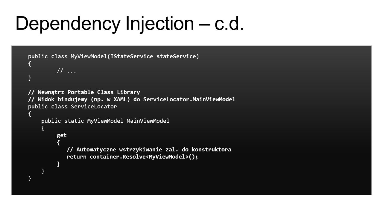 Dependency Injection – c.d.