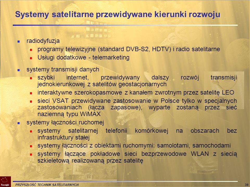 Systemy satelitarne przewidywane kierunki rozwoju