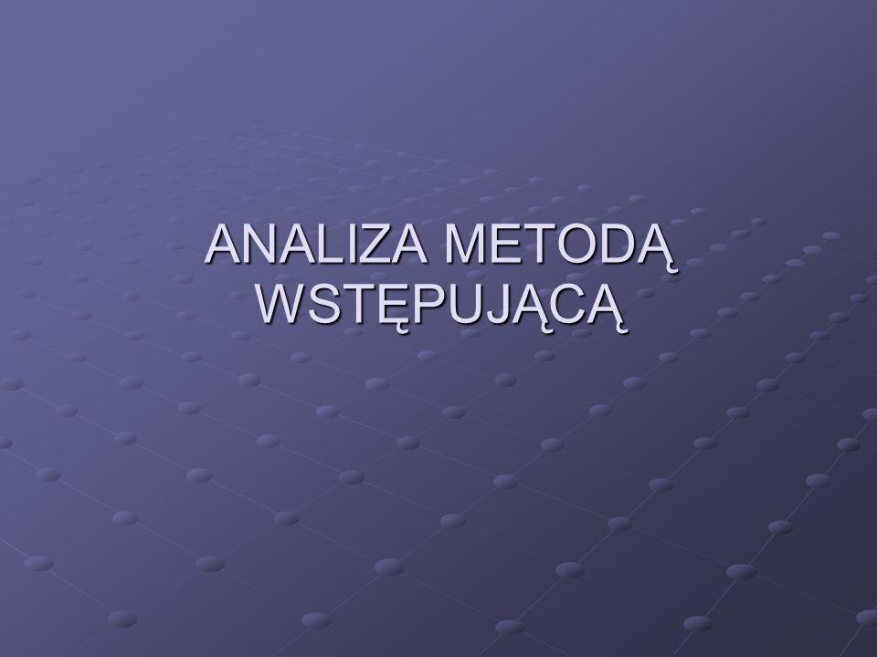 ANALIZA METODĄ WSTĘPUJĄCĄ