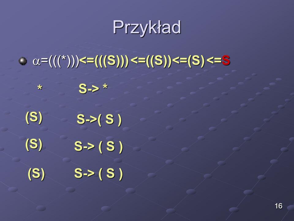 Przykład =(((*))) <=(((S))) <=((S)) <=(S) <=S * S-> *