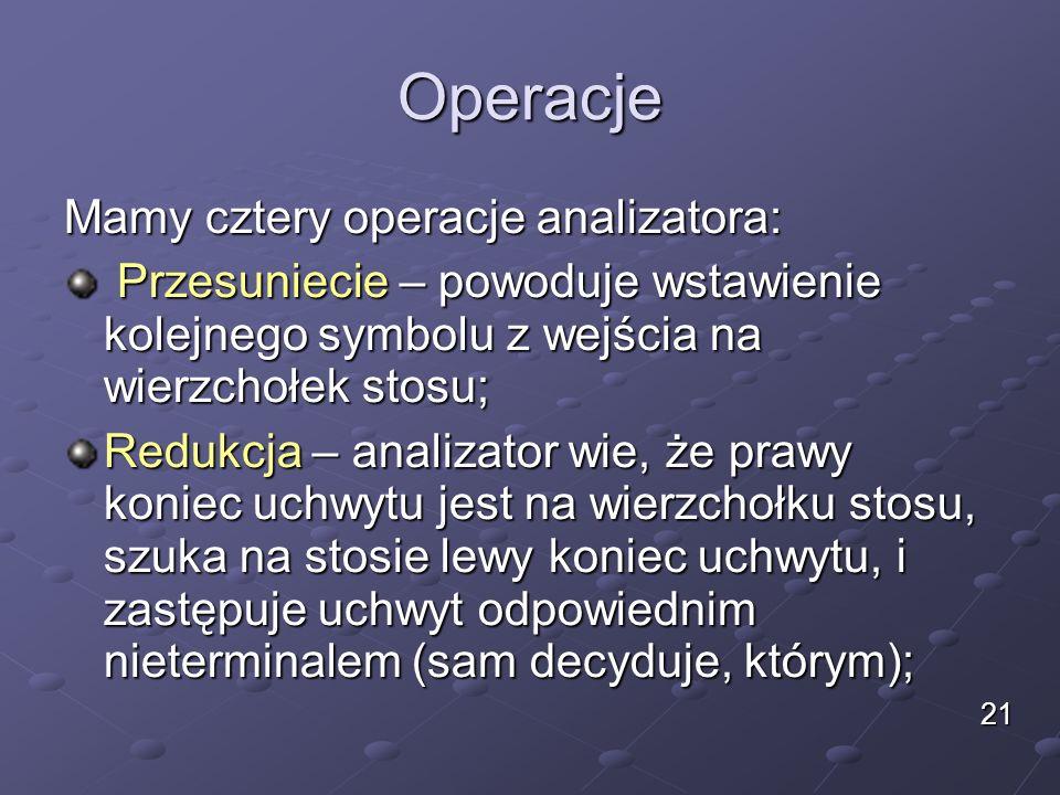 Operacje Mamy cztery operacje analizatora: