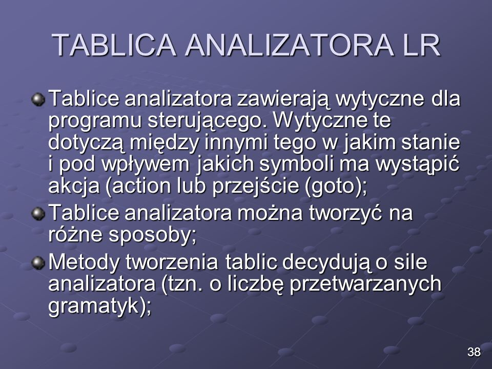 TABLICA ANALIZATORA LR