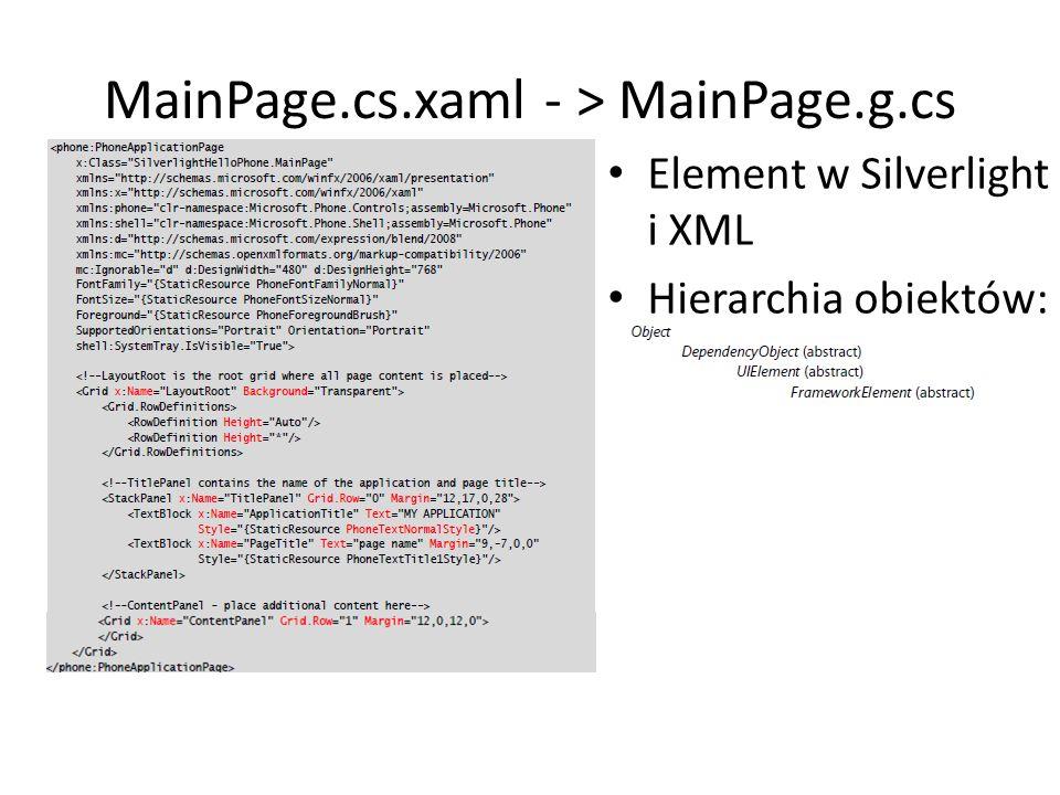 MainPage.cs.xaml - > MainPage.g.cs