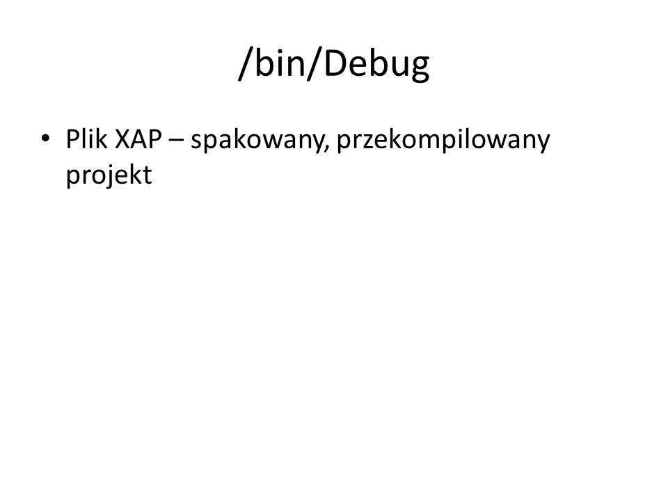 /bin/Debug Plik XAP – spakowany, przekompilowany projekt