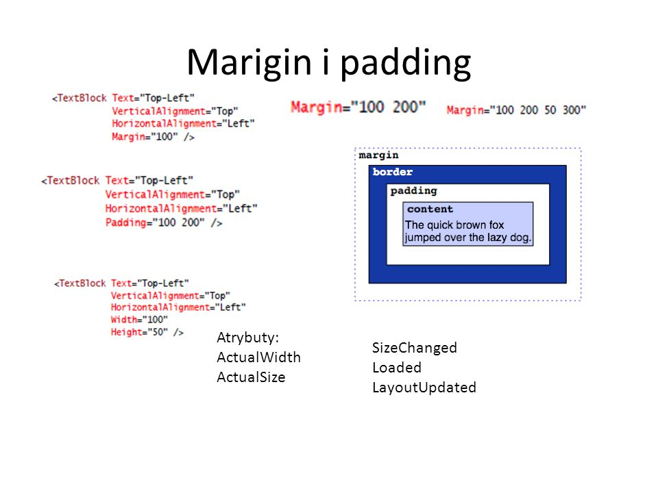 Marigin i padding Atrybuty: ActualWidth SizeChanged ActualSize Loaded