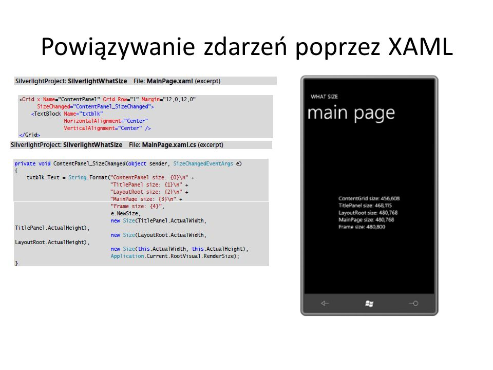 Powiązywanie zdarzeń poprzez XAML