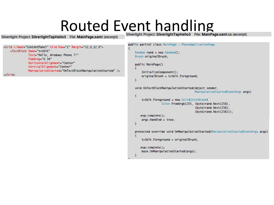 Routed Event handling