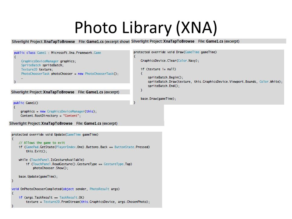 Photo Library (XNA)