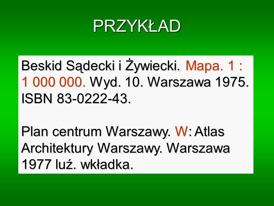 PRZYKŁAD Beskid Sądecki i Żywiecki. Mapa. 1 : 1 000 000. Wyd. 10. Warszawa 1975. ISBN 83-0222-43.