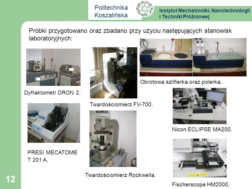 Próbki przygotowano oraz zbadano przy użyciu następujących stanowisk laboratoryjnych: