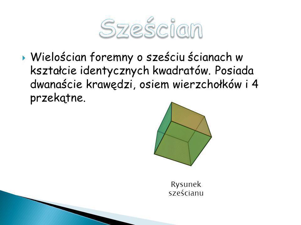 Sześcian Wielościan foremny o sześciu ścianach w kształcie identycznych kwadratów. Posiada dwanaście krawędzi, osiem wierzchołków i 4 przekątne.