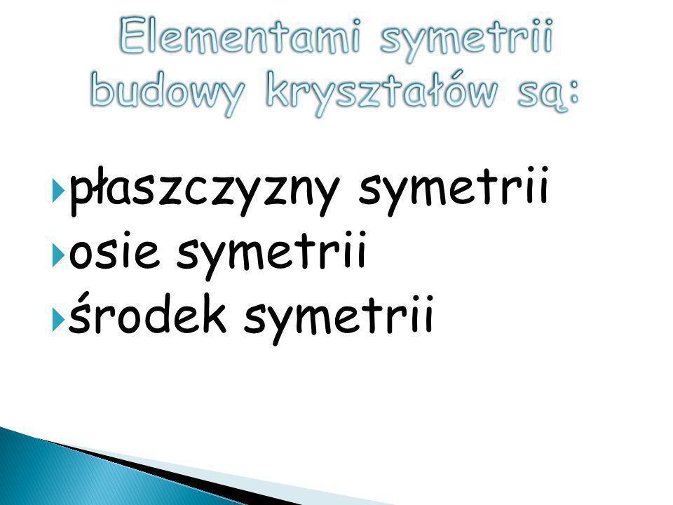 Elementami symetrii budowy kryształów są: