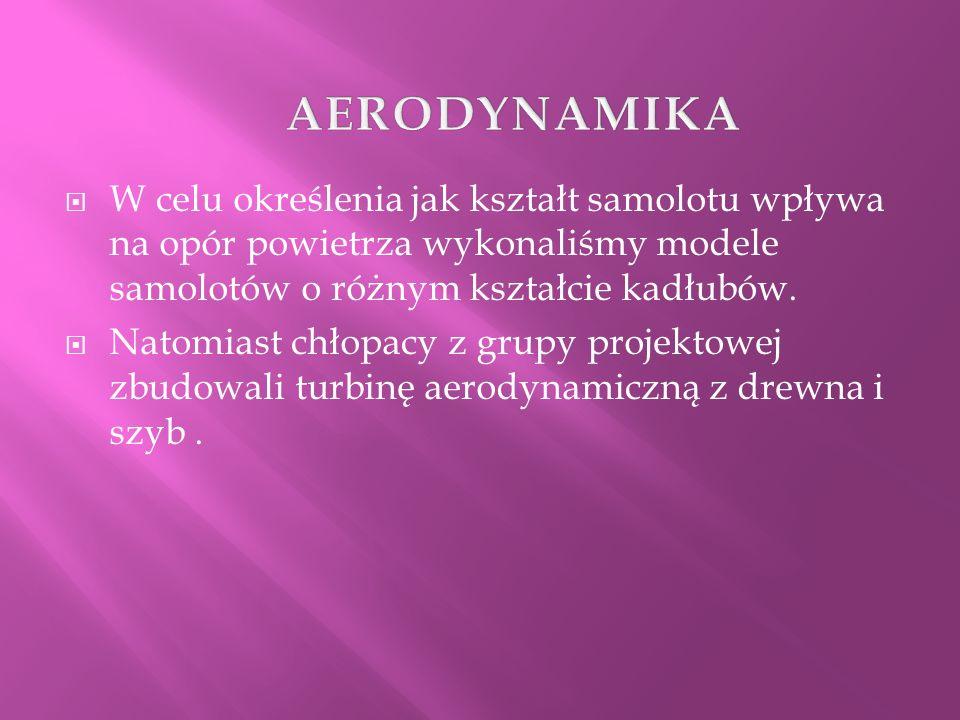 AERODYNAMIKA W celu określenia jak kształt samolotu wpływa na opór powietrza wykonaliśmy modele samolotów o różnym kształcie kadłubów.