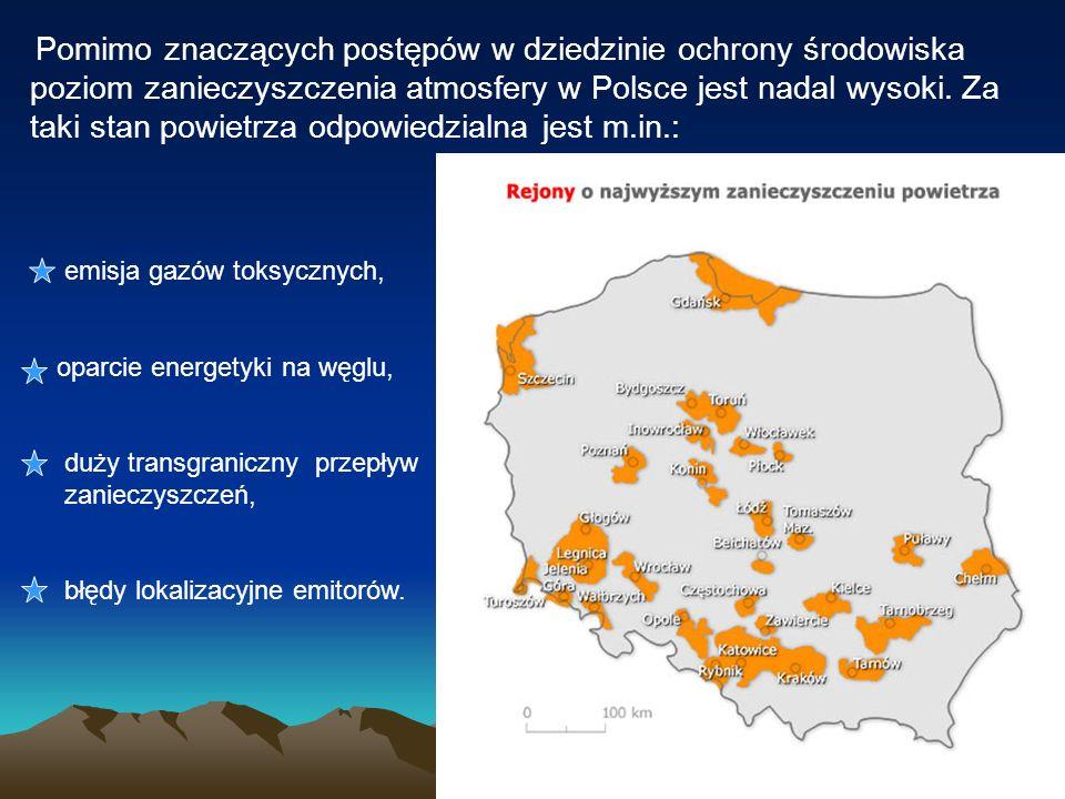 Pomimo znaczących postępów w dziedzinie ochrony środowiska poziom zanieczyszczenia atmosfery w Polsce jest nadal wysoki. Za taki stan powietrza odpowiedzialna jest m.in.: