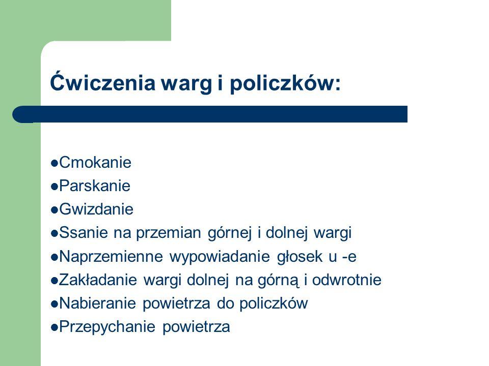 Ćwiczenia warg i policzków:
