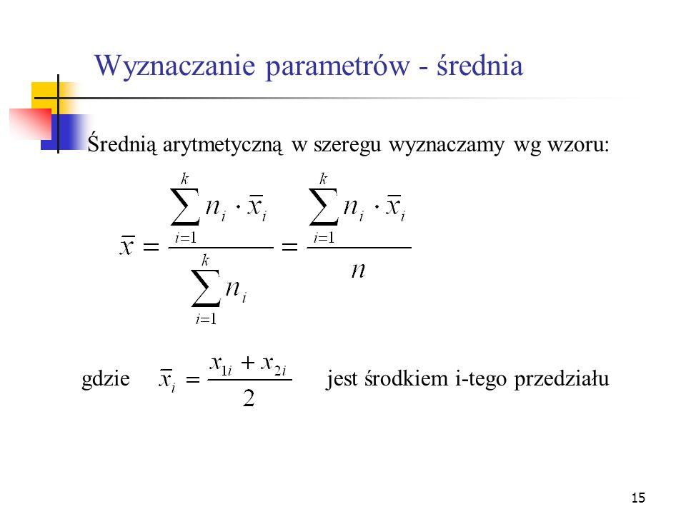 Wyznaczanie parametrów - średnia