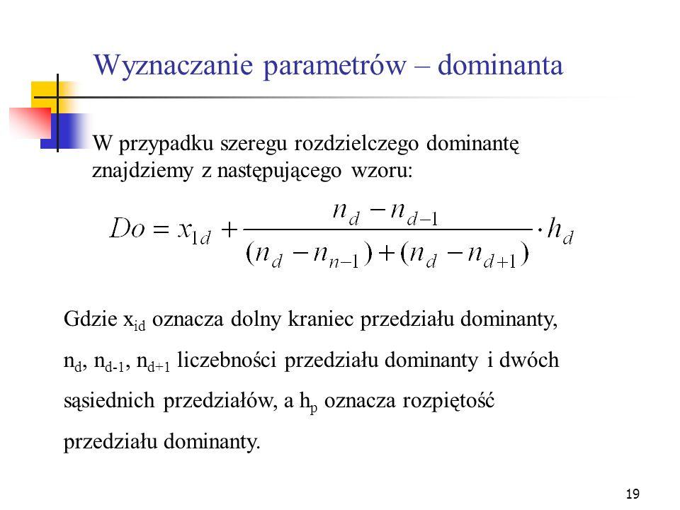 Wyznaczanie parametrów – dominanta