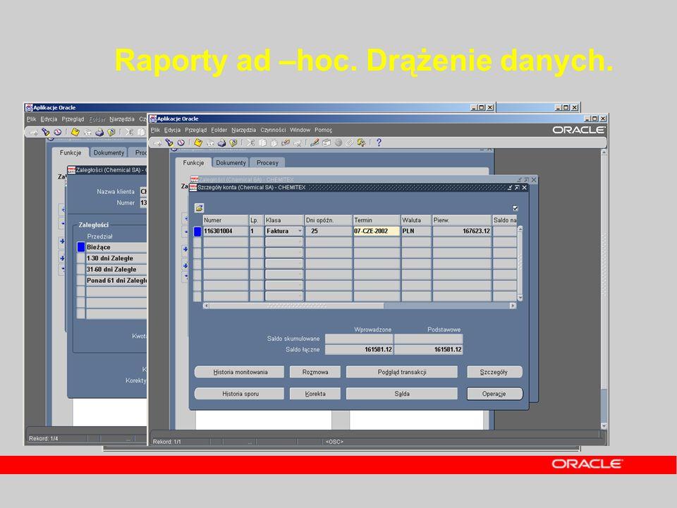 Raporty ad –hoc. Drążenie danych.