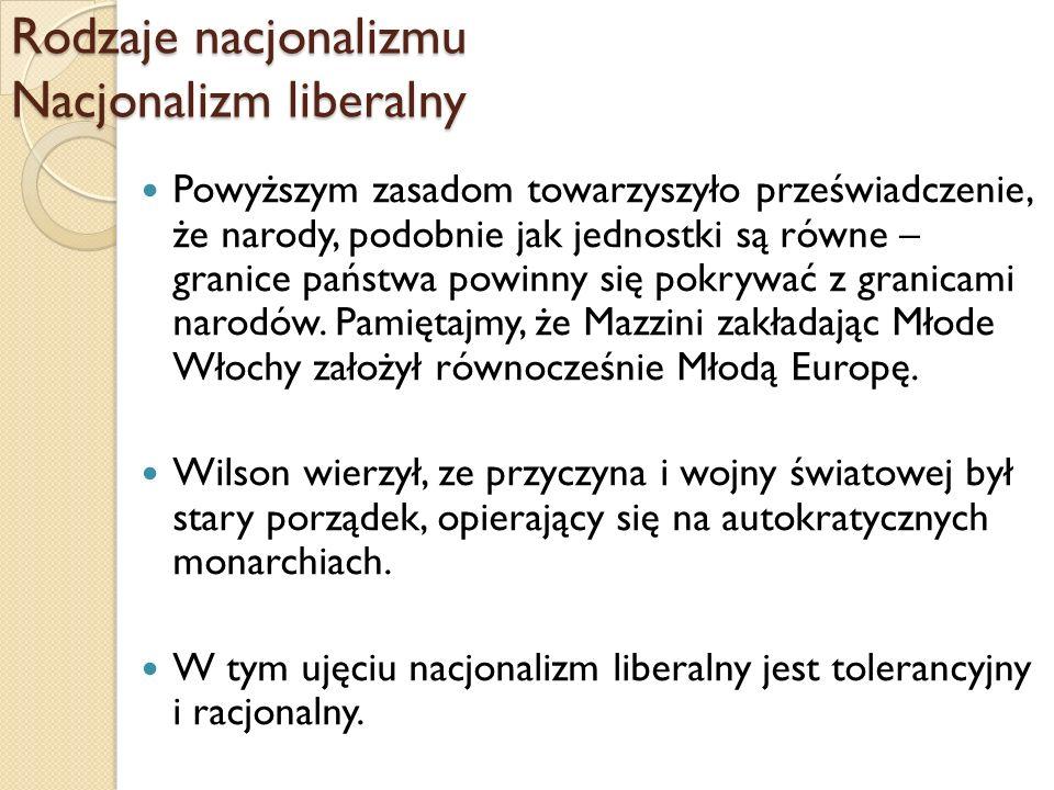 Rodzaje nacjonalizmu Nacjonalizm liberalny