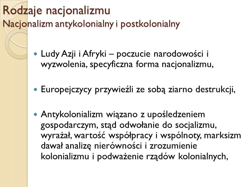 Rodzaje nacjonalizmu Nacjonalizm antykolonialny i postkolonialny