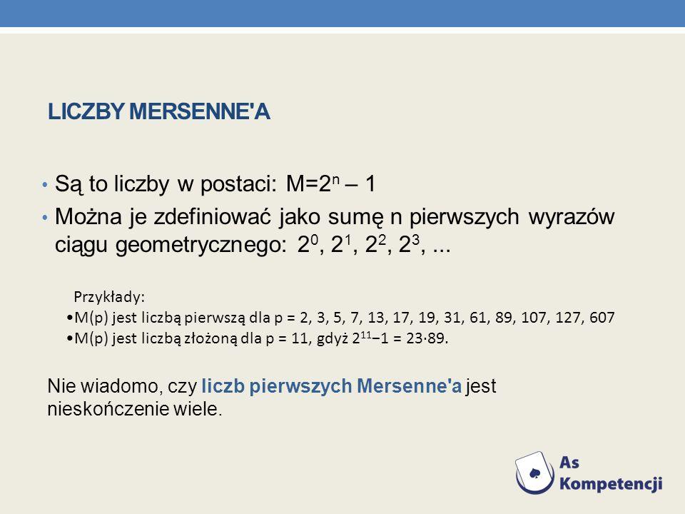 Są to liczby w postaci: M=2n – 1