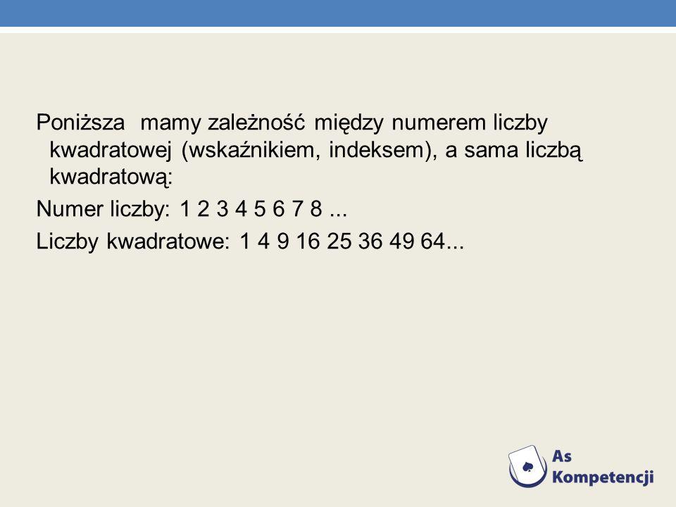 Poniższa mamy zależność między numerem liczby kwadratowej (wskaźnikiem, indeksem), a sama liczbą kwadratową: Numer liczby: 1 2 3 4 5 6 7 8 ...