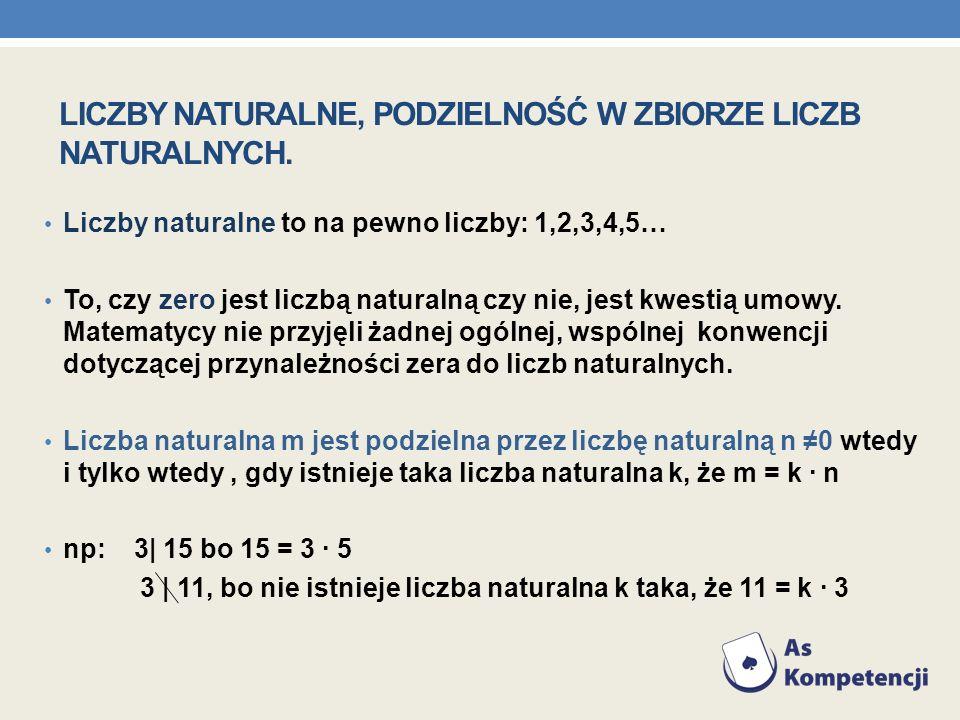 Liczby naturalne, podzielność w zbiorze liczb naturalnych.